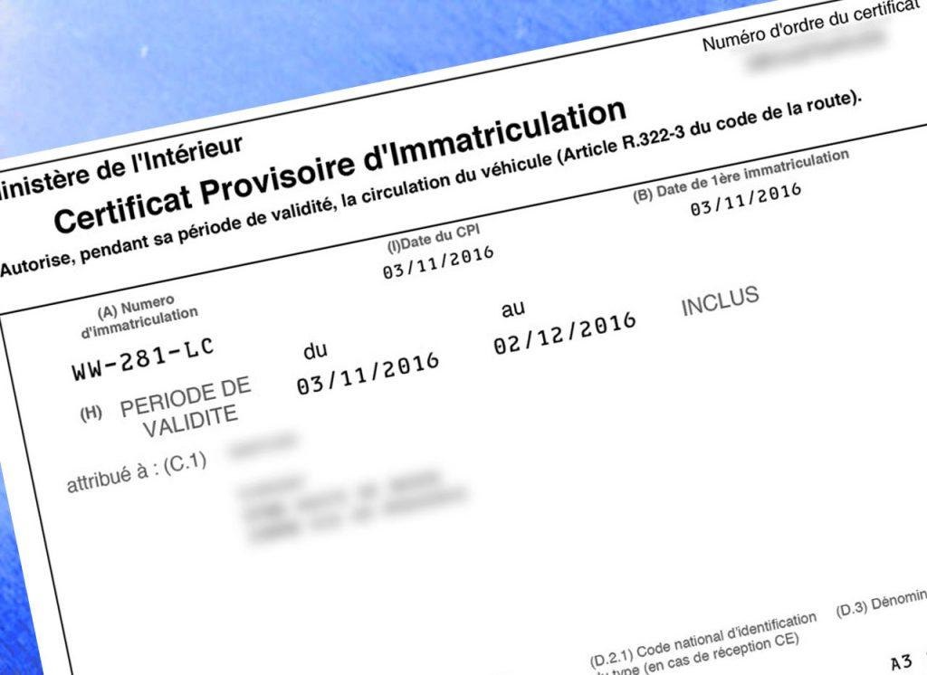 certificat provisoire d'immatriculation