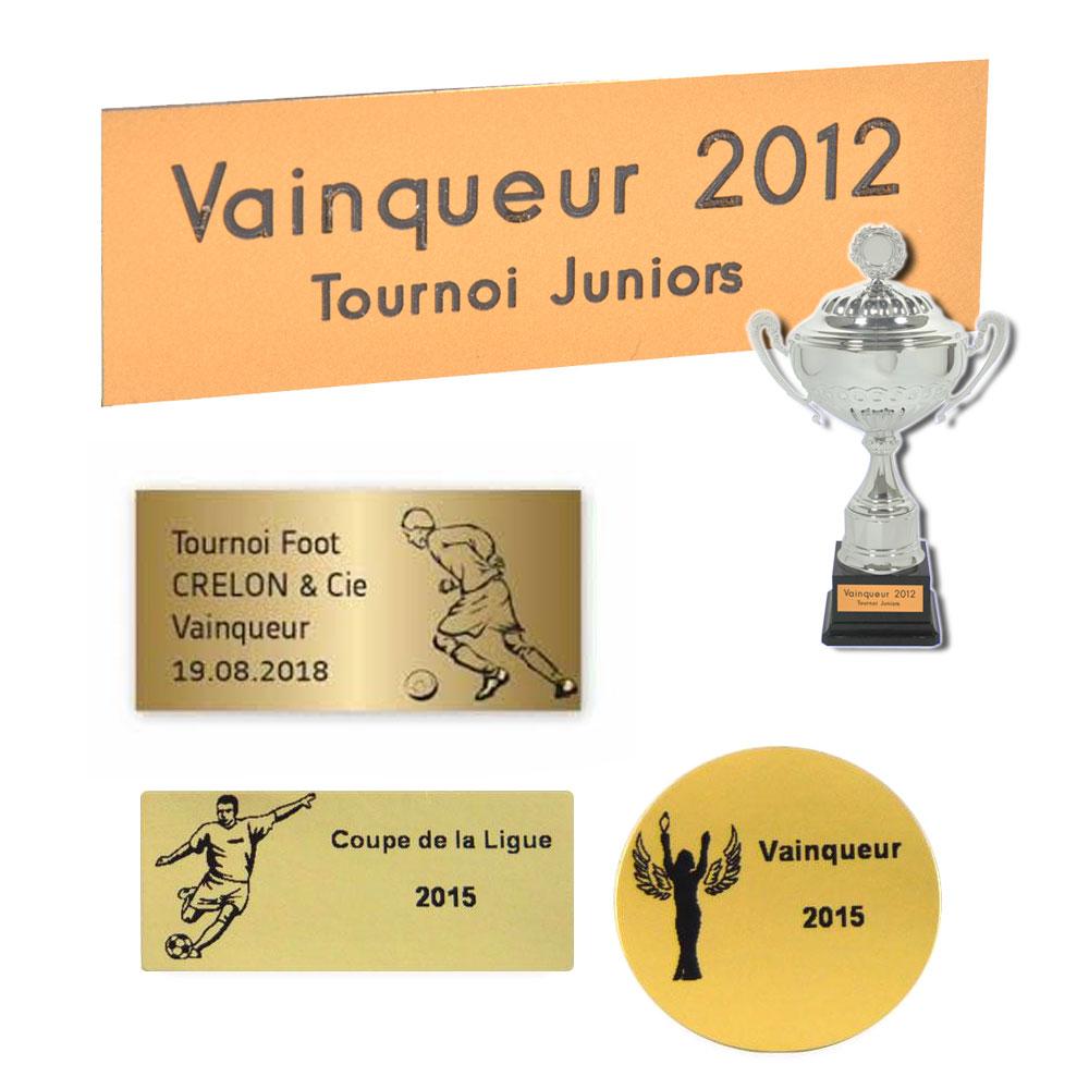 gravure plaque trophée sportif et coupe